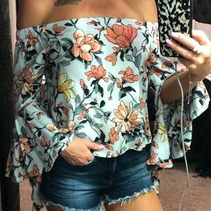 Angl OTS Floral Top - Small